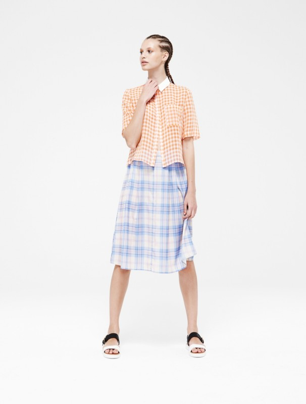 Gingham-Contrast-Collar-Shirt
